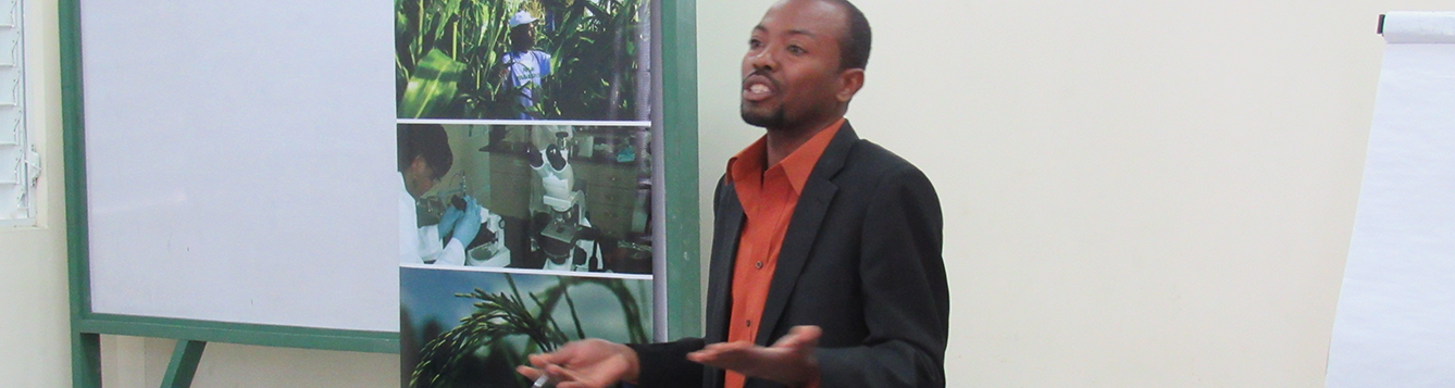 Absalon Pierre teaching professors in Haiti as part of the Faculty Development Academy.
