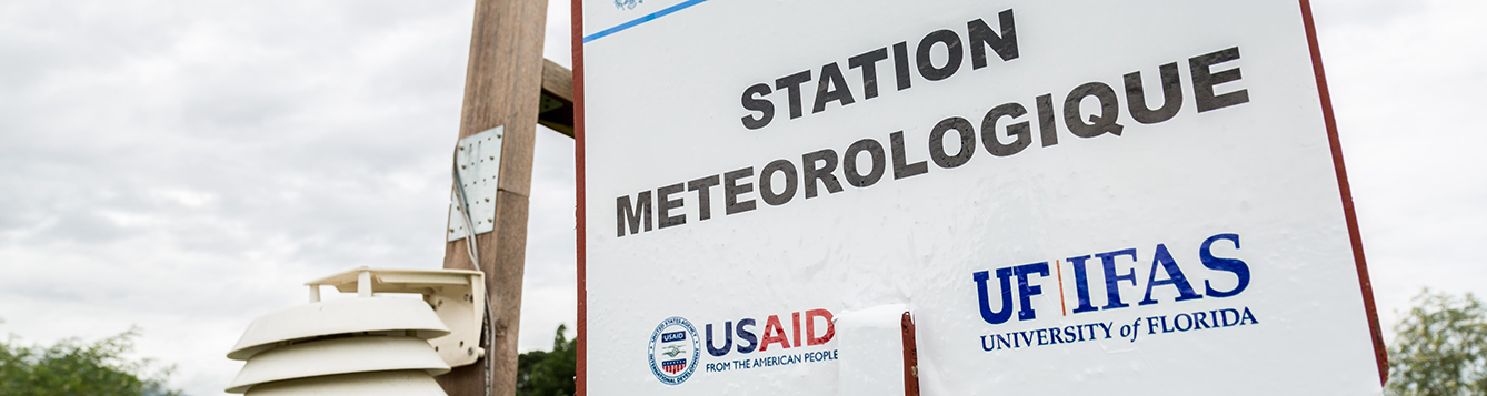 Sign at new weather station installed by AREA at Bas Boen CRDD in Haiti
