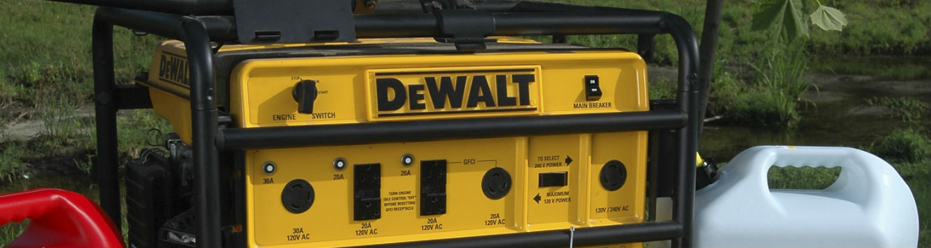 photo of portable generator and gas cans