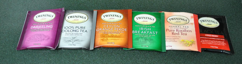 row of tea bags