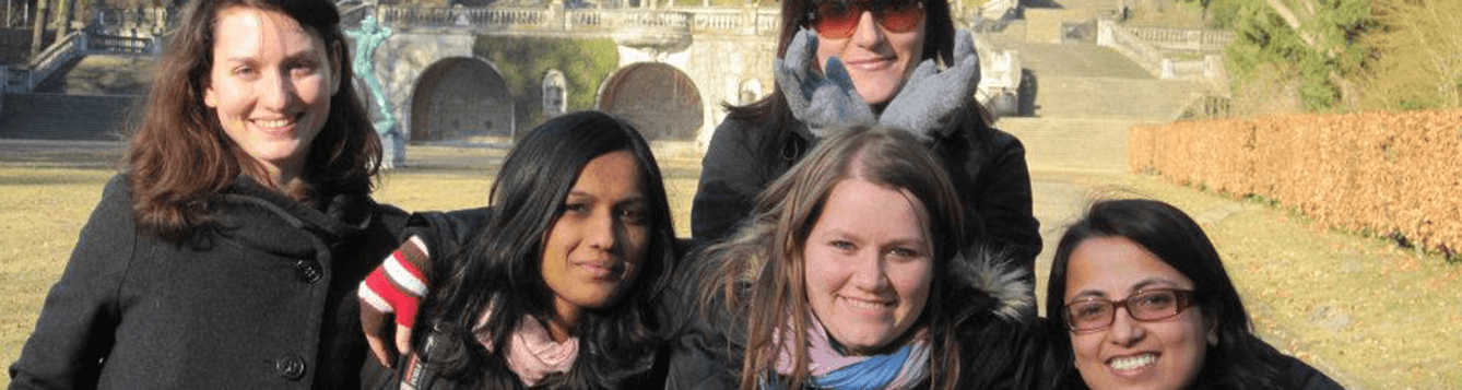 CALS faculty member Misti Sharp pictured with four peers during her study abroad experience in Germany