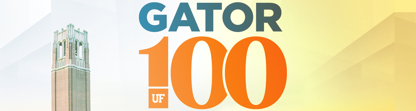 "Image of century tower with words ""Gator 100"""