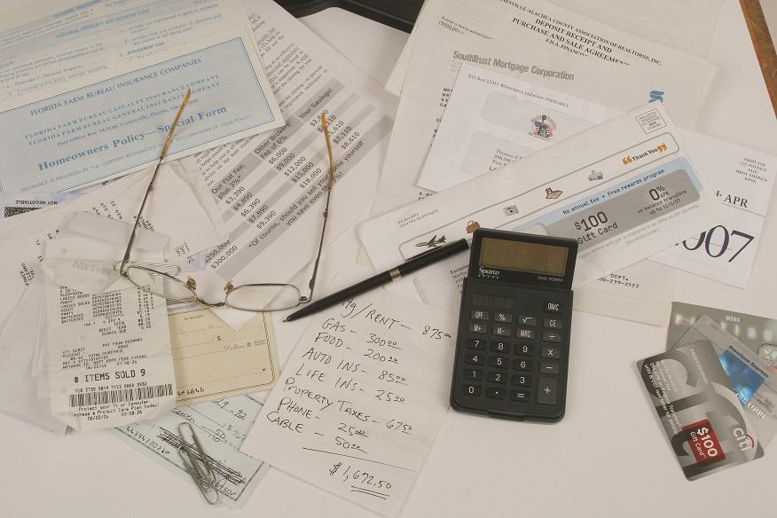 receipts, bills, calculator