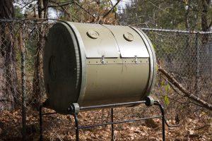 A rotating compost bin.