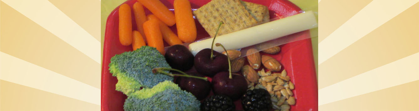 plate of healthy snacks from all food groups