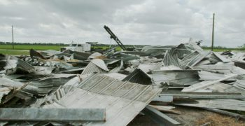 metal wreckage and cloudy sky