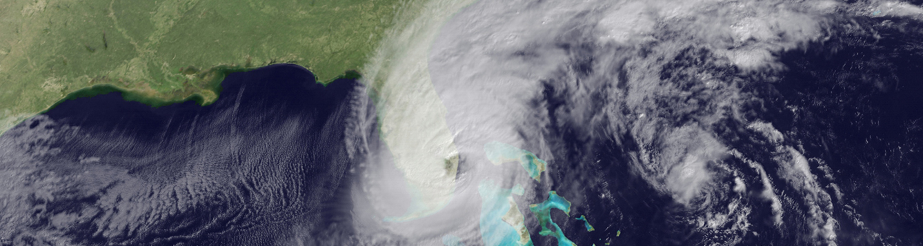 Satellite imagery of a hurricane eye beginning to move over South Florida