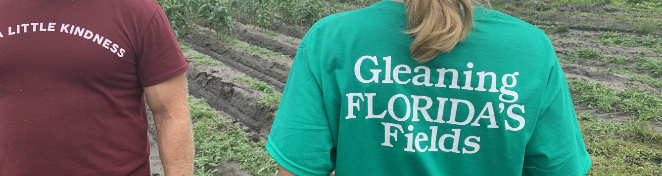 Women with Tshirt and the back says gleaning Florida Fields