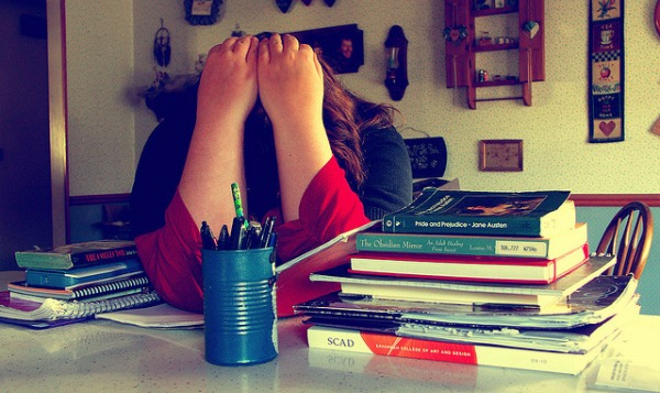 teen with too much homework