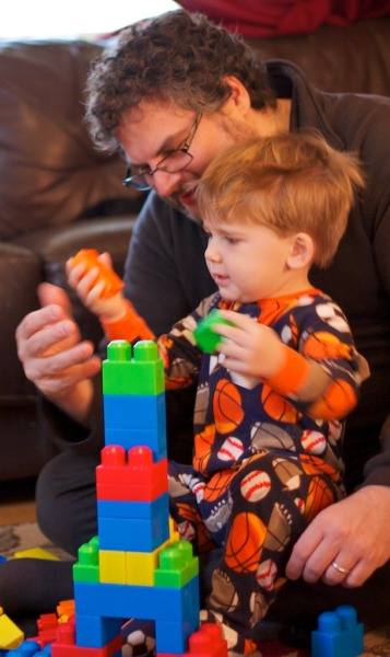 parent and child with blocks