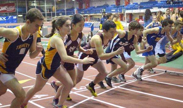 teens running track