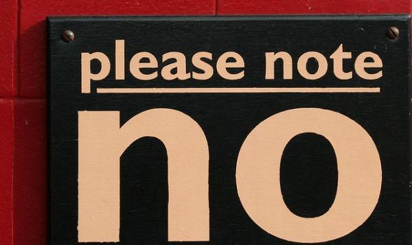 sign saying no