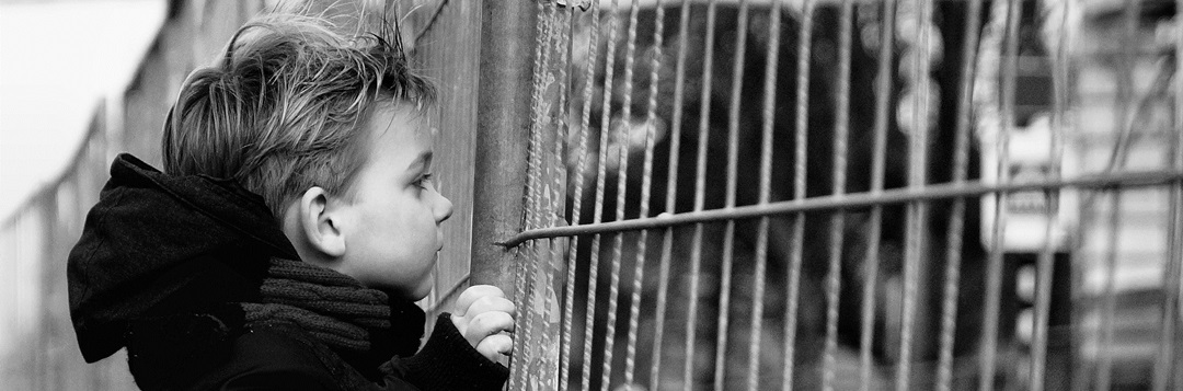 boy looking thru fence