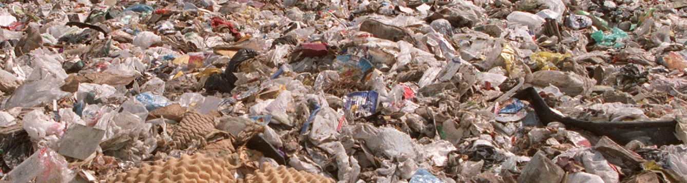close-up of a landfill