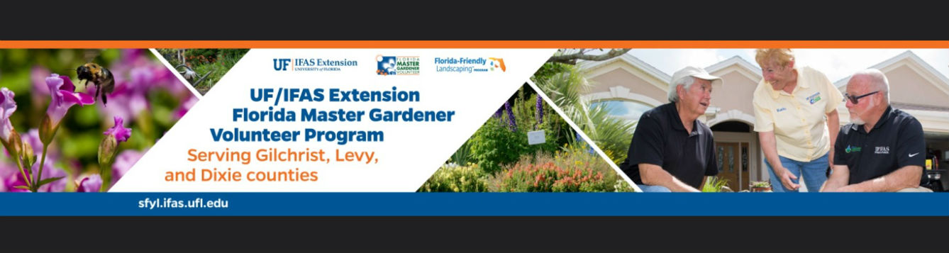 UF/IFAS Extension Master Gardeners serve the community. Image of bees, flowers, landscape and people talking