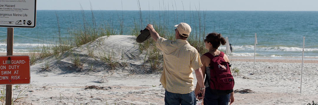 People visiting a St. Augustine beach