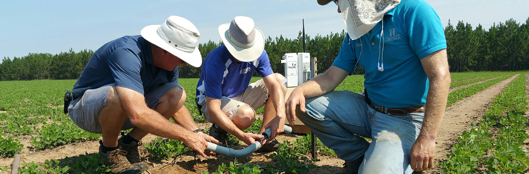 Mike Mulvaney and Sam and Scott Walker working with irrigation system in a peanut field.