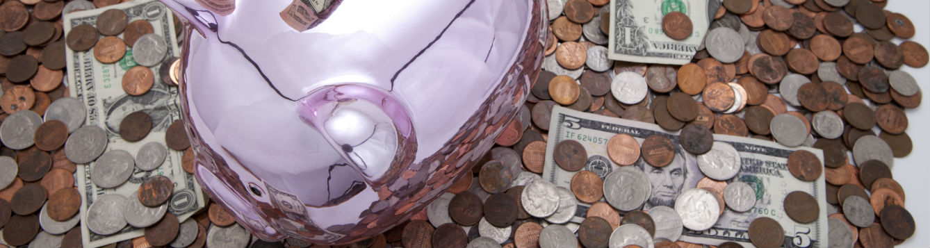 piggy bank and change