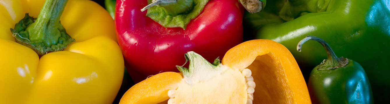 Picture of red, orange and green peppers