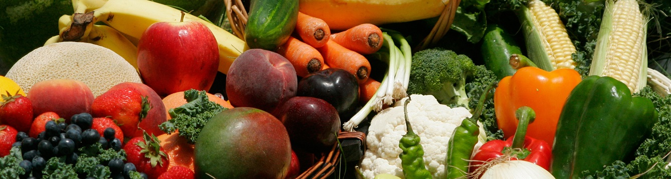 Close up of color fruits and vegetables