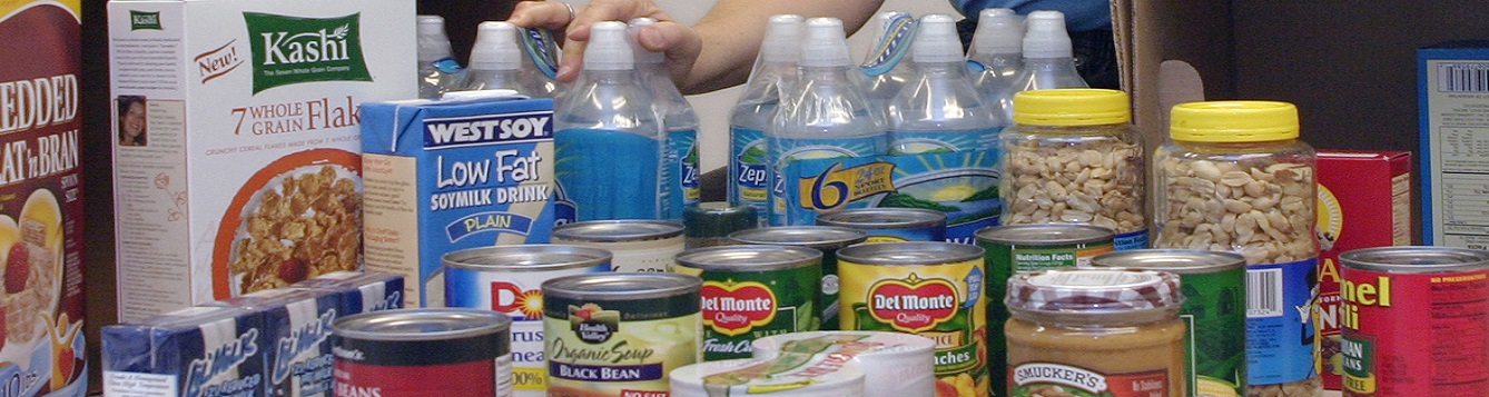 cans & bottles of non perishable foods for hurricane pantry