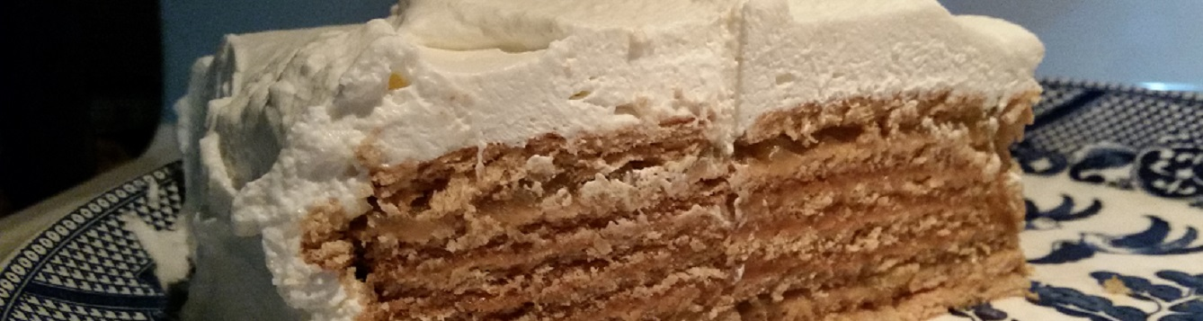 icebox cake on blue willow plate