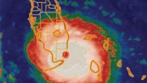 Doppler radar view of a hurricane approaching florida