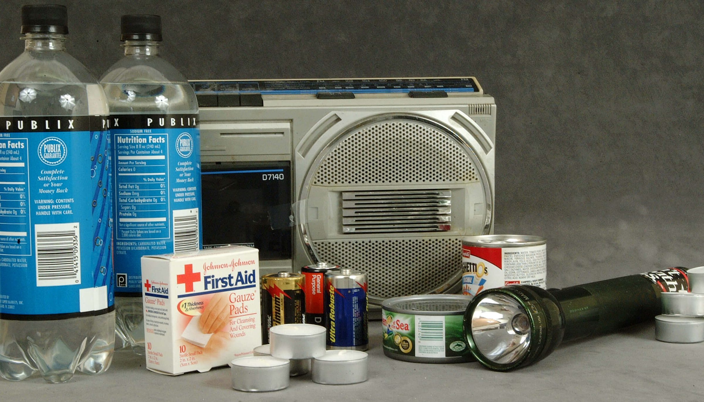 This is an example of the items to keep in a hurricane preparedness kit for disaster planning - radio, water, medicines, flashlight, batteries, canned food