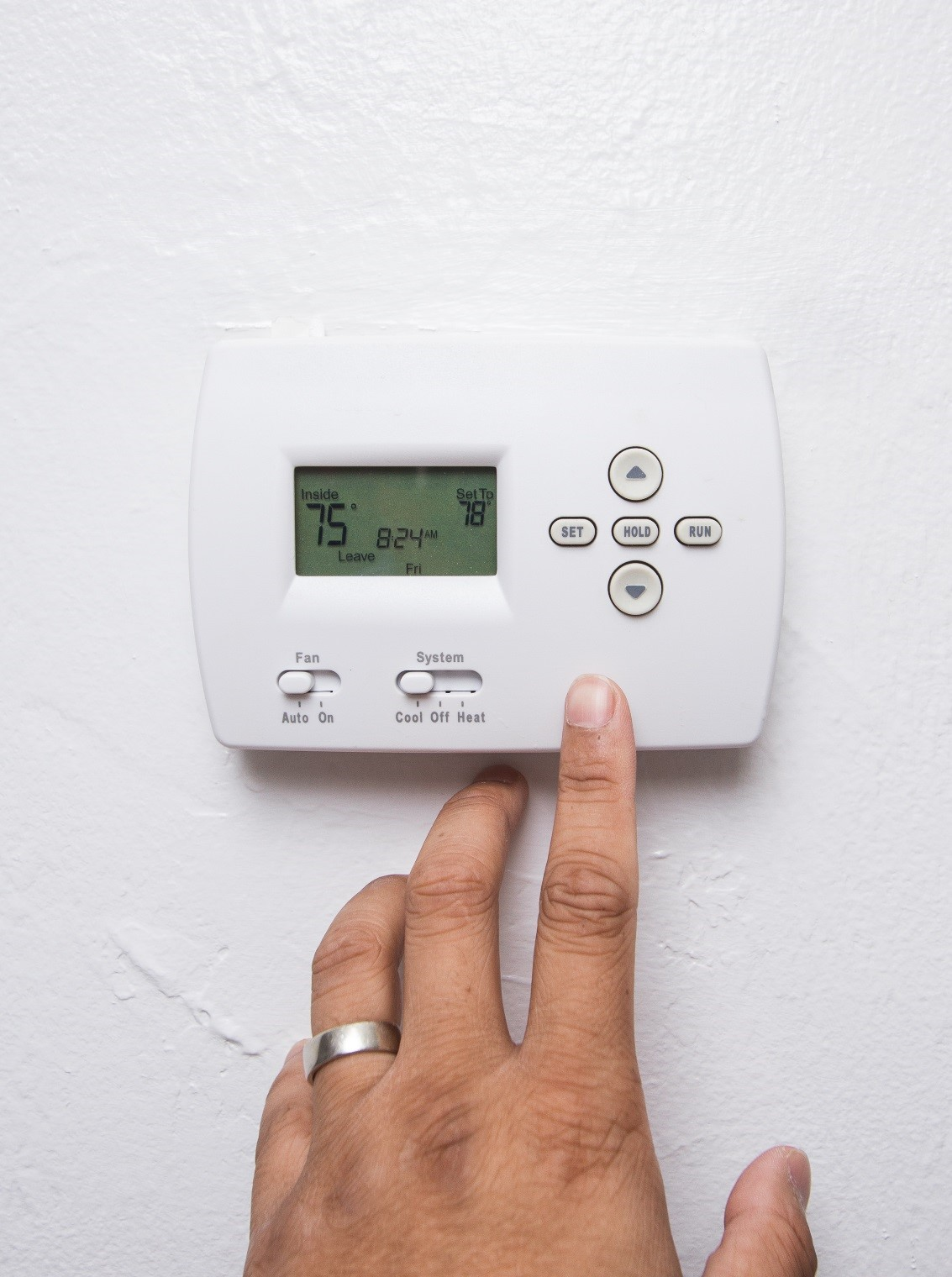 Control humidity with central air conditioning, set thermostat 80-85°F.