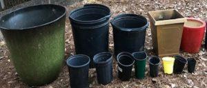assortement of different sized garden pots