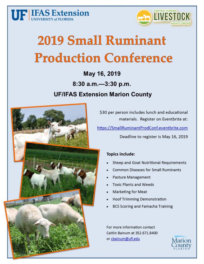 2019 Small Ruminant Production Flyer