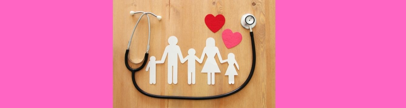 Cut-outs of a family, with hearts and a stethoscope for an article about enrolling for Affordable Care Act health insurance.