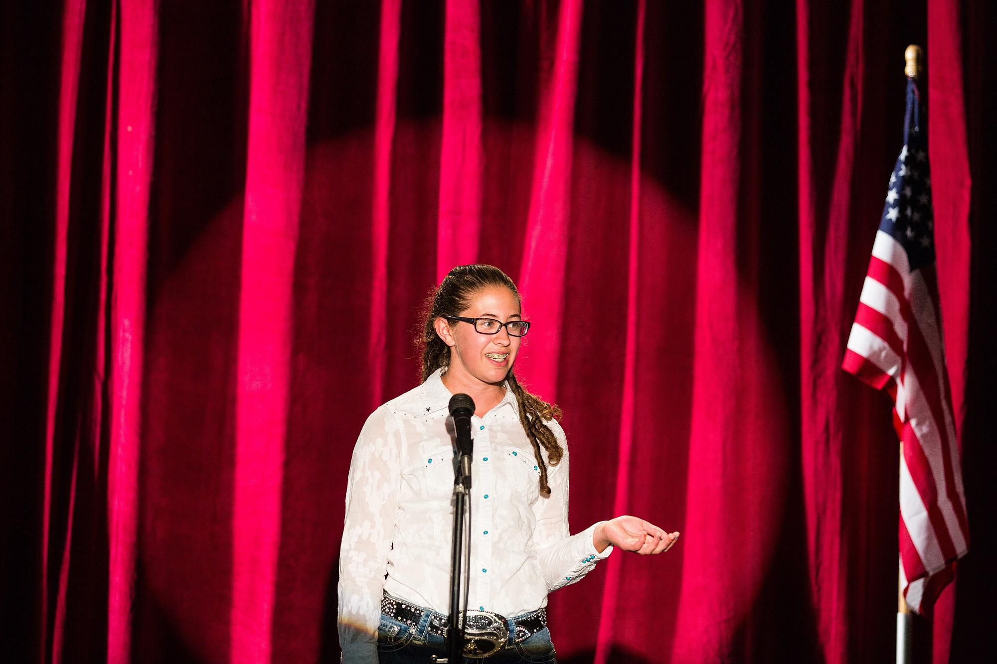 youth competes in public speaking event