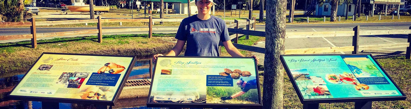 Big Bend Shellfish Trail signs in Steinhatchee