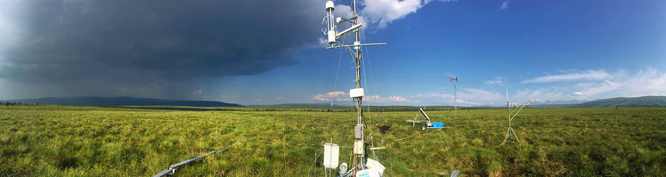 data collection tower in a field during the summer in the arctic