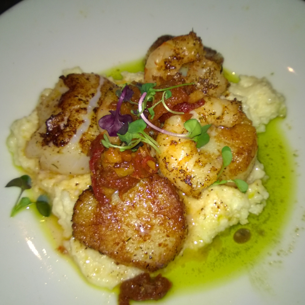 scallops and shrimp over grits