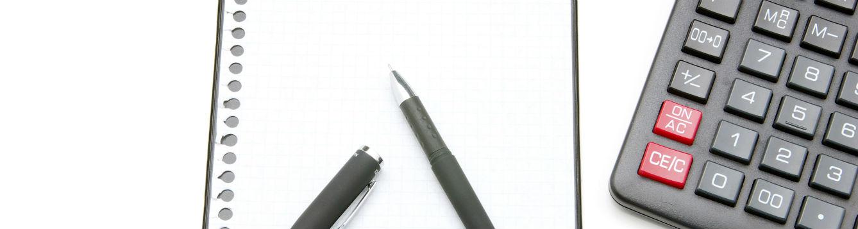 notepaper pen calculator