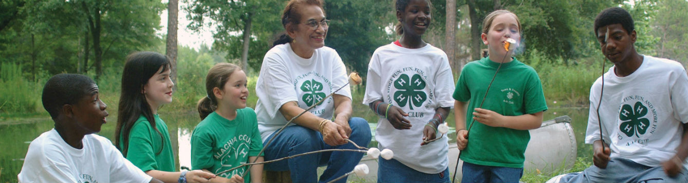 4-H youth at campfire