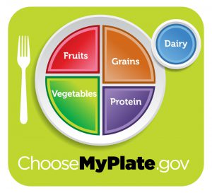 MyPlate Graphic showing the five food groups: Fruits, Vegetables, Grains, Protein and Dairy