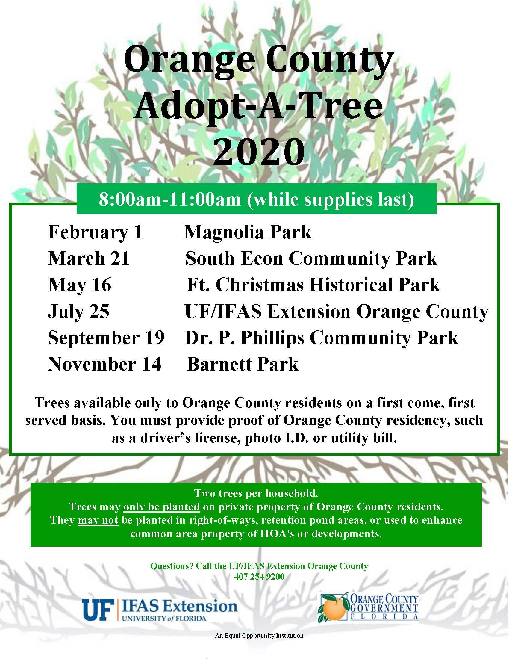 Adpot A Tree program flyer 2020