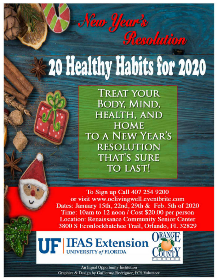20 Healthy Habits for 2020 program flyer