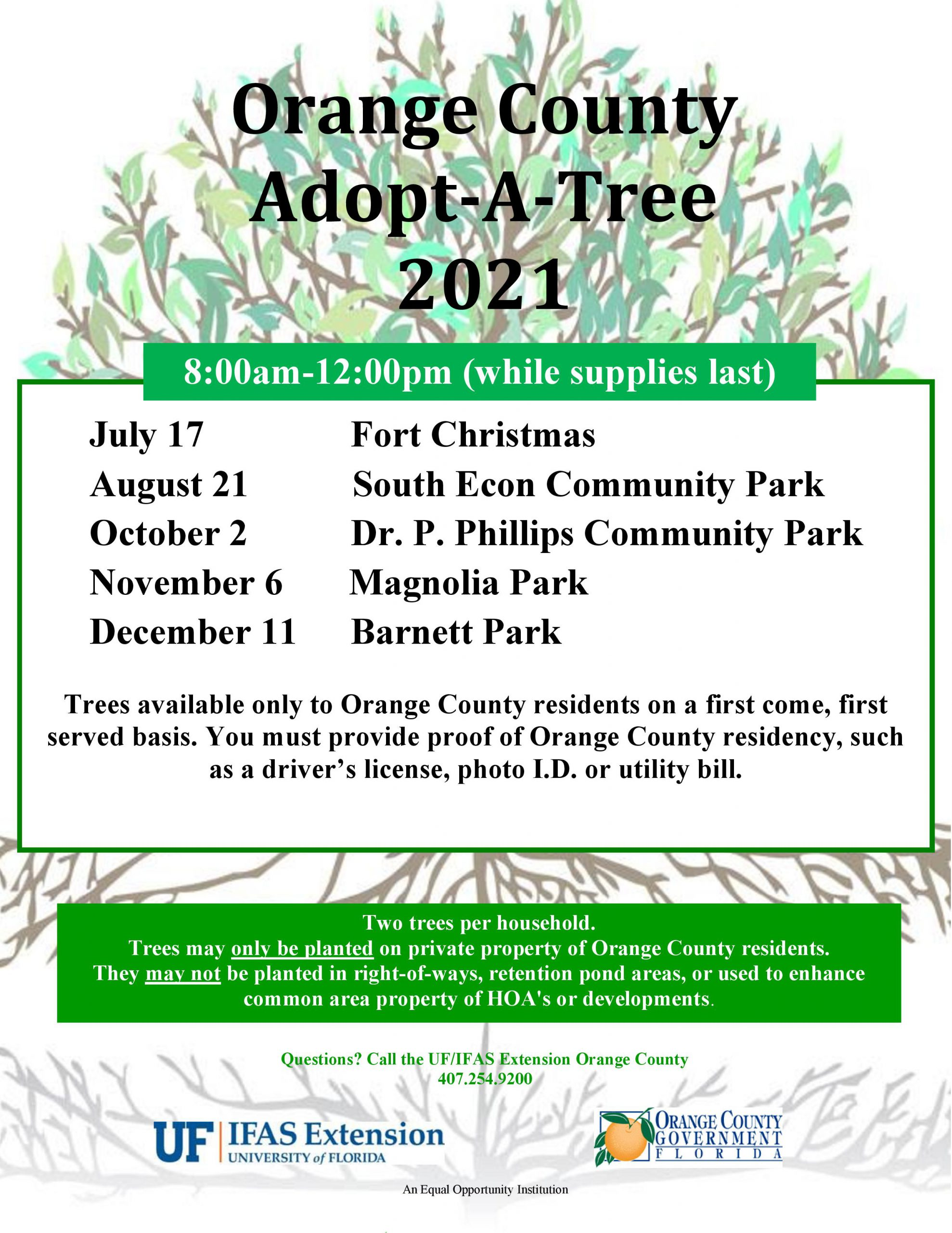 tree giveaway flyer with 2021 dates