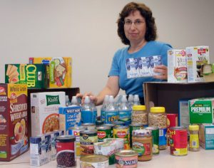 Dr. Bobroff displays non-perishable emergency food items