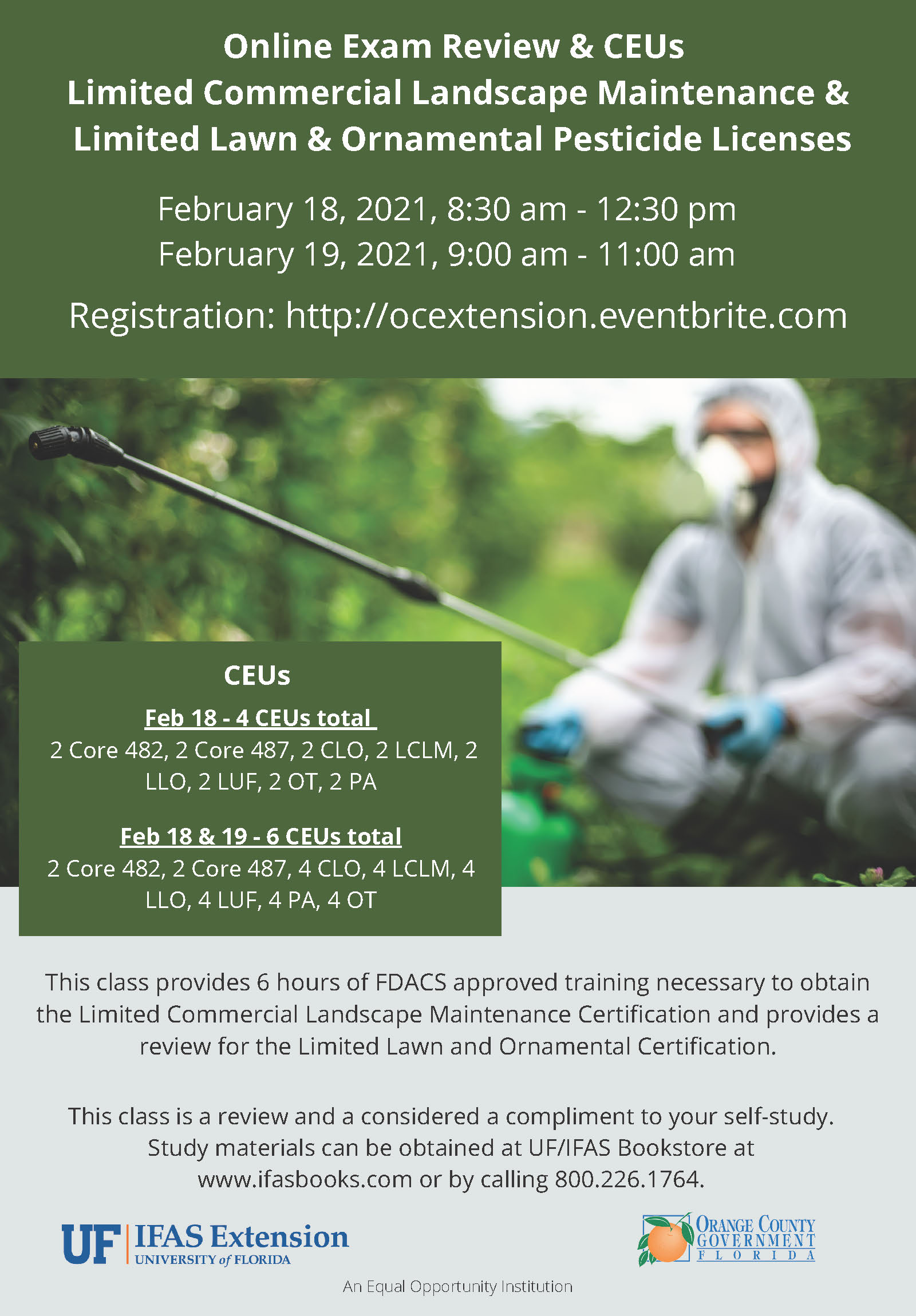 Flyer for Ltd Commercial Landscape Maintenance & Ltd Lawn & Ornamental Pesticide Licenses
