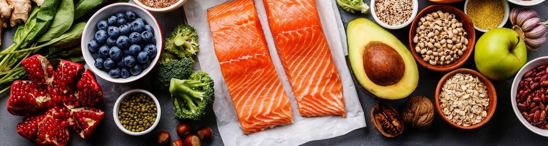 healthy foods, salmon, avocado, broccoli,