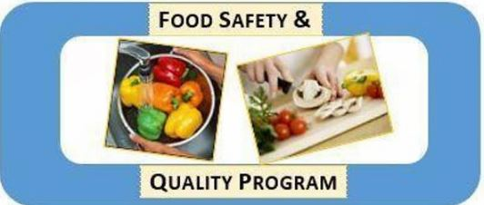 "Photo of peppers and someone chopping mushrooms with the caption ""Food Safety & Quality Program"""