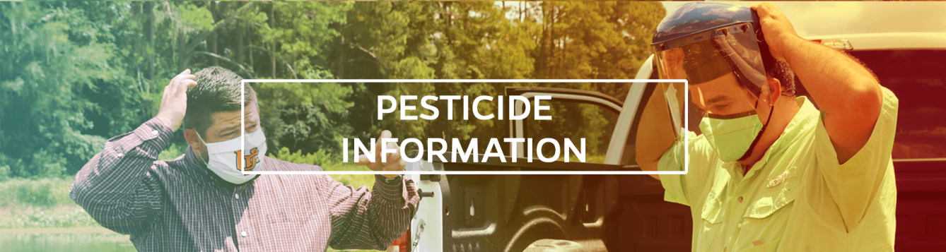 pesticide information header with two men putting on personal protective equipment