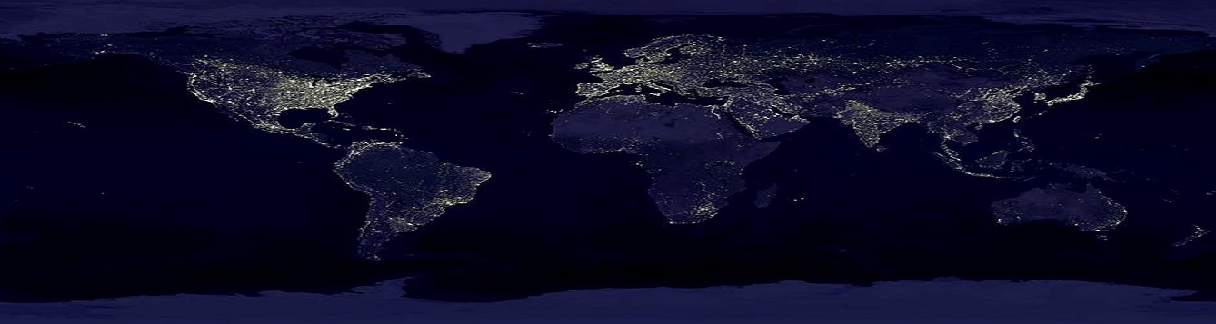 Panorama of Earth at night, lit up with city lights.