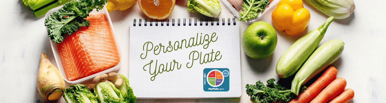 fruit and vegetables with a notepad and myplate logo