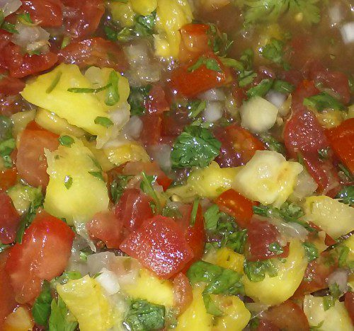 Healthy, colorful, and downright delicious Sunset Salsa, reading for dipping!